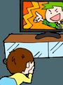 テレビに夢中の子供