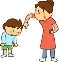 面倒くさがり屋の子を叱る母親